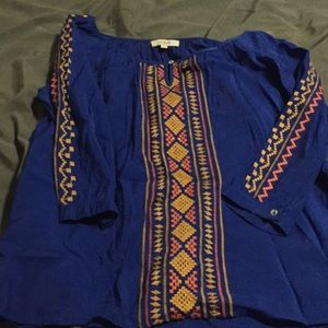 Blue with orange and yellow embroidered Umgee top